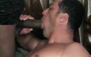 Hot ebony tranny drills guy after getting deep throat