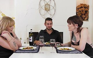 Romantic dinner with two mistresses lead to some hot threesome