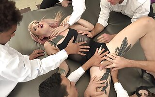 Simmering shemale concerning some tattoos Lena Kelly is fucked by aroused studs