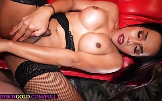 Curvy Asian ladyboy Far is a true sex bomb with her heavy ass with the addition of heavy boobs